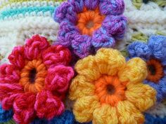 #Crochet some Chunky Bobble Flowers by Suz Place. Flowers can be added to just about any project.