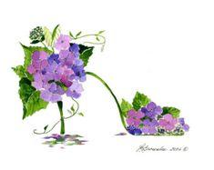Hortensia violet & vigne fleur chaussure Print - livraison gratuite