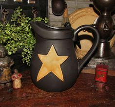 Primitive Antique Vtg Style Decor Black Mustard Star Stoneware Pitcher Jug Crock #NaivePrimitive