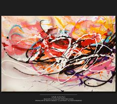 Abstract Canvas Art Painting 36x24 Original by wostudios on Etsy, $125.00
