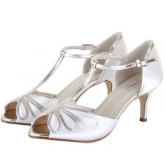 Harlow by Rainbow Club Ivory or White Dyeable Satin Vintage T-Bar Wedding or Occasion Shoes
