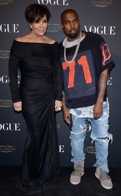 Kris Jenner & Kanye West from Stars at Paris Fashion Week Spring 2016 | E! Online