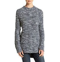 Ruff Hewn Marled Mixed Ribbed High Low Sweater