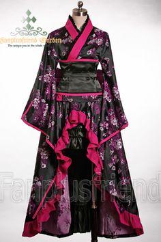 Gothic Wa Lolita Wine Peony Kimono