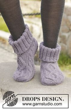 """Knitted DROPS slippers with cables in """"Nepal"""". Size 35 - 43. ~ DROPS Design"""