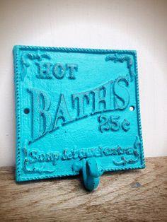 BOLD seaside aqua turquoise blue BATH sign towel hook by BOLDHOUSE, $15.00