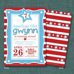 PRINTABLE American Girl Red White and Blue Birthday Invitation, 5x7 American Girl Party by The Silly Nilly Studio