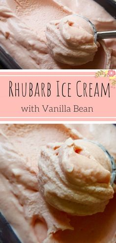 Rhubarb Ice Cream with real Vanilla - Creamy, melt in your mouth ice cream thanks to Jeni Britton Bauers egg-free Ice Cream Base! A quick homemade rhubarb vanilla jam infuses this springtime ice cream with lovely rhubarb flavour! A pastel pink dessert you Easy Ice Cream Recipe, Healthy Ice Cream, Homemade Ice Cream, Ice Cream Recipes, Rosa Desserts, Pink Desserts, Easy Summer Desserts, Pavlova, Rhubarb Vanilla Jam
