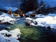 Artist Jack Sorenson Unframed Cowboy Print Five Cold Miles From Coffee | WildlifePrints.com
