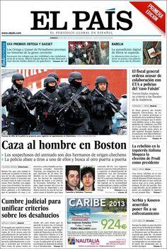 Los Titulares y Portadas de Noticias Destacadas Españolas del 20 de Abril de 2013 del Diario El País ¿Que le parecio esta Portada de este Diario Español?