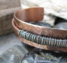 Hammered Copper and Sterling Silver Cuff Bracelet