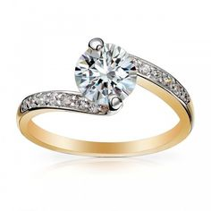 Bypass Cubic Zirconia Wedding Ring Channel Setting Gold ($9.95) ❤ liked on Polyvore