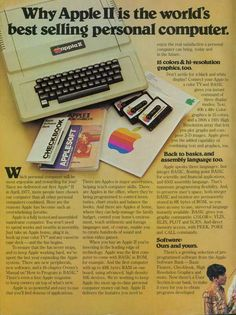 """13 Vintage Apple Ads That Helped Shape Who We Are Today - """"Why Apple II is the world's best selling personal computer. Old Computers, Desktop Computers, Gaming Computer, Computer Science, Computer Technology, Apple Ii, Vintage Advertisements, Vintage Ads, Retro Ads"""