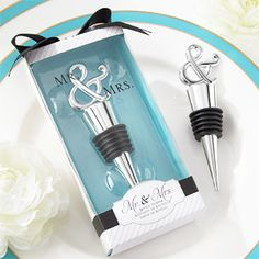 What better way to celebrate the new Mr. and Mrs. than our chrome ampersand bottle stopper, designed to bring the happy couple front and center! Favors and Flowers' punctual and practical thank-you present reminds guests you'll be together and happy the rest of your lives!