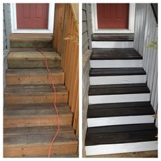 Front Steps Before & After.  Love the white with the dark on top.