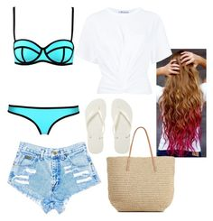 """""""Beach // Daisy"""" by wattpad-lover-z ❤ liked on Polyvore featuring T By Alexander Wang, Target and Havaianas"""
