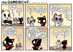 He plays video games. Cat Comics, Anime Comics, Video Games Funny, Funny Games, Funny Webcomics, Gamer Cat, Funny Comic Strips, Short Comics, Seriously Funny