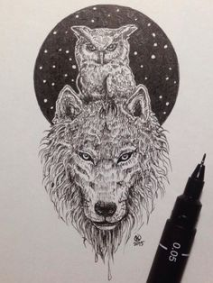 Amazing Owl and wolf pic by Kerby Rosanes - may have to get this as my next tattoo!