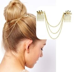 Chic Gold Tone Leaf Hair Cuff Chain Comb Jewelry Headpiece Headband Head Piece $5.94