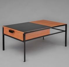 André Simard; Elm, Laminate and Enameled Metal Coffee Table, c1955.