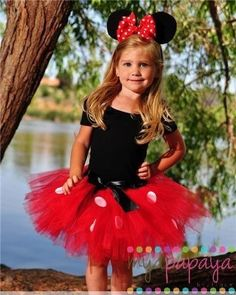 Mirias costume red tulle, white dots fabris spray?, black dress she already has, mouse ear headband, red polka dot bow??