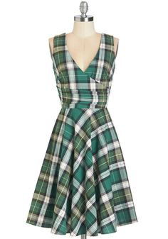 Beguiling Beauty Dress in Green Plaid