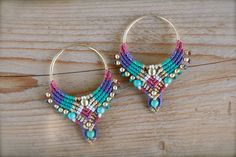 tribal earrings hoop earrings macrame earrings makrame