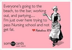 Everyone's going to the beach, to the bar, working out, and partying...I'm just over here trying to pass Nursing school and not get fat. Nurse humor. Nursing student funny. Registered Nurses. RN. Someecards. Fabulous RN.