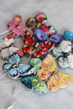 Made By Hand Online - Embroidered Butterfly Brooches by Marna Lunt at madebyhandonline Embroidered Butterflies, The Originals Show, Butterfly Pin, Brooches Handmade, Vintage Embroidery, Hat Pins, Textile Art, Favorite Color, Stitching