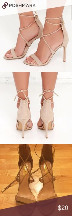 """Lulu's Romy Taupe Lace-Up Heels Taupe colored lace up heels from Lulu's online boutique.  4.25"""" wrapped stiletto heel. Cushioned insole. Felted, rubber sole has nonskid markings. All vegan-friendly, man made materials. Imported. Worn twice. Lulu's Shoes Heels"""