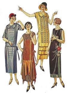 1925 vintage catalog fashion illustration of Art Deco / Roaring Twenties dresses 20s Fashion, Moda Fashion, Art Deco Fashion, Fashion History, Vintage Fashion, Fashion Outfits, Fashion Design, Dress Fashion, Moda Vintage