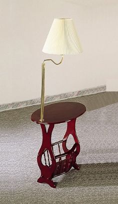 Cherry Finish Swing Arm Brass Lamp Magazine Table