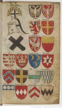Ancien armorial colorié, où sont figurés les blasons de différents princes et seigneurs de France, Allemagne, Flandre, Angleterre, Espagne, Italie, etc. Cet armorial est vraisemblablement d'origine flamande. Premier mot : « Daufin ». Dernier mot : « le Sr de Senlis ».