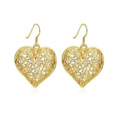Filigree Floral Heart Drop Earrings ($2.14) ❤ liked on Polyvore featuring jewelry, earrings, heart earrings, heart drop earrings, floral jewelry, heart jewelry and floral drop earrings