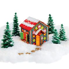 Want a gingerbread house without the mess? Here is a fake gingerbread house that you can still have fun making without creating a disaster in your kitchen. Another plus is that you won't be attract...