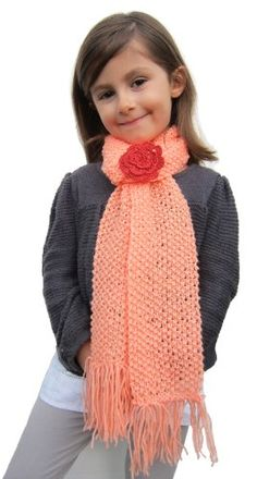 Handmade Scarf - Coral Peach (Kids Large/100% Knitted By Hand)