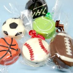 Sports Ball Chocolate Covered Oreo Cookies http://www.beau-coup.com/birthday/sports-ball-chocolate-covered-oreo-cookie.htm