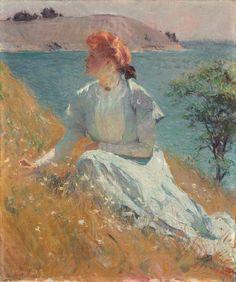 """@KickingBullG: Frank W. Benson ""Margaret (""Gretchen"") Strong,""  1909, oil on canvas via National Gallery of Art FB """