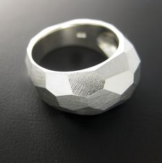 Sterling Silver Ring - Facet Ring