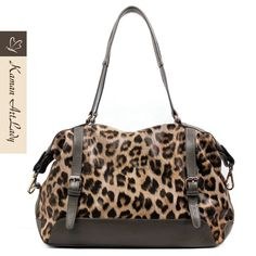 Kaman Ladies' Leopard Pattern Cow Leather Shoulder Bag [KM8686] - $166.00 <3 go get it to be fashion