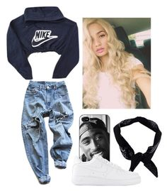 """""""why give a bitchh ya heart when shed rather have a purse"""" by bitchgotswagg ❤ liked on Polyvore featuring Levi's, NIKE and Boohoo"""