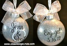 Personalized Engagement Glitter Ornament, Glass. Great Gift Idea #GlitterOrnaments
