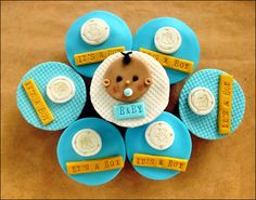 Cupcakes, Cheap Baby Shower Cakes In Soft Blue And White Color Theme 00607: Cute Baby Shower Cakes Design & Decoration