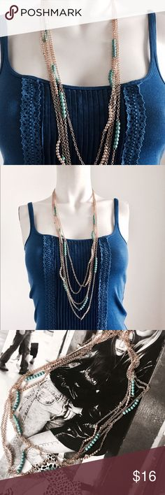 Teal and gold layered necklace. Gorgeous teal and gold multi layered necklace. Perfect for dressing up any outfit! Jewelry Necklaces