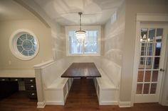 Kitchen Nook inside the Bradley Two-Story by Steiner Homes.  #builtinbench #kitchen #seating #custom #home