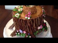 Relaxing cake decorating: all buttercream tree stump cake - piping bark, mushrooms, flowers - YouTube