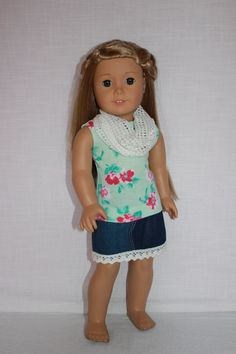 18 inch doll clothes floral knit tank top blue by UpbeatPetites