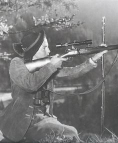 Princess de Rethy using a Mannlicher Schönauer rifle with double trigger and butter knife bolt handle, most likely in Hinterriss,Tyrol, Austria, 1950s