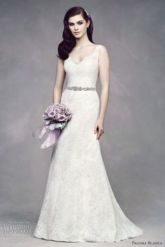 wedding gown fit flare lace paloma blanca fall 2012 premiere style 4305