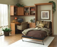 25 Creative Bedroom Workspaces with Style and Practicality - 25 Creative Bedroom Workspaces with Style and Practicality Murphy bed allows you to switch between bedroom and home office with ease [Design: Tailored Living] Murphy Bed Office, Murphy Bed Desk, Murphy Bed Plans, Desk Bed, Office Bed, Sofa Bed, Bedroom Office Combo, Guest Room Office, Guest Rooms